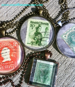 Vintage Postage Stamp Necklace