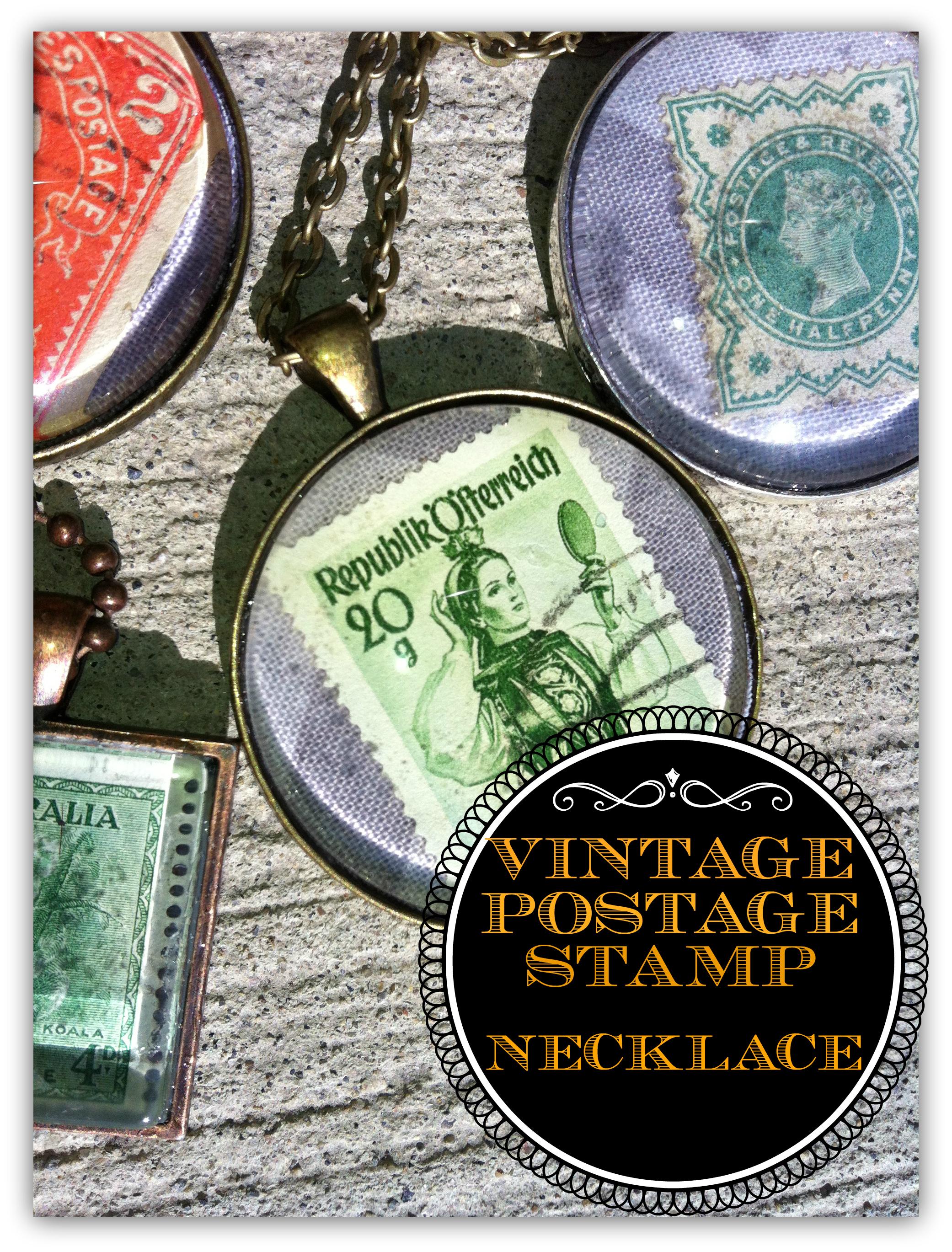 vintage postage stamp necklace sweet benanna sam